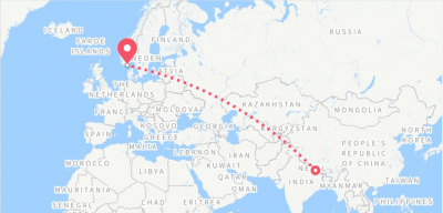 Flightroute-Kathmandu-Bangkok-Oslo-Kristiansand