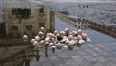 Politicians Debating Global Warming (art installation by Isaac)