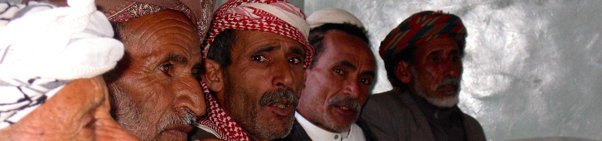 North Yemen, men chewing kath.